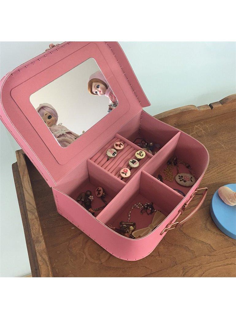 Joyero maletín rosa